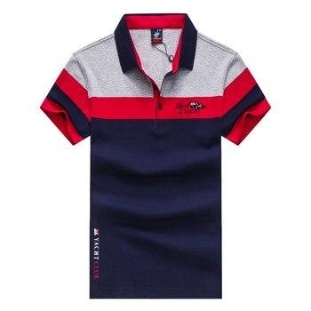 high quality t shirt Tess&shark t-shirt men's clothing summer short-sleeve 2018 casual turn-down collar stripe fashion plus size