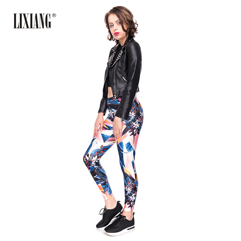 Lixiang Women 3D Printed Fitness Sporting Workout Leggings Push Up High Waist Pants Elegant Sexy Elastic Breathable Leggins