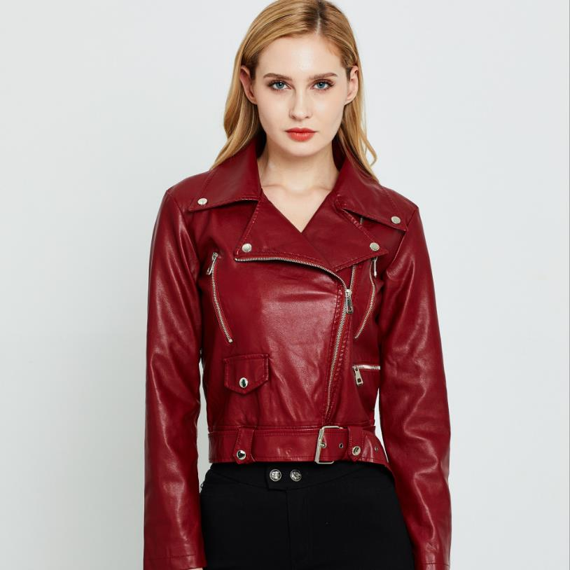 England zipper beading pu   leather   jackets female great quality was   leather   jackets Кожаная одежда with belt wq2129 wholesale