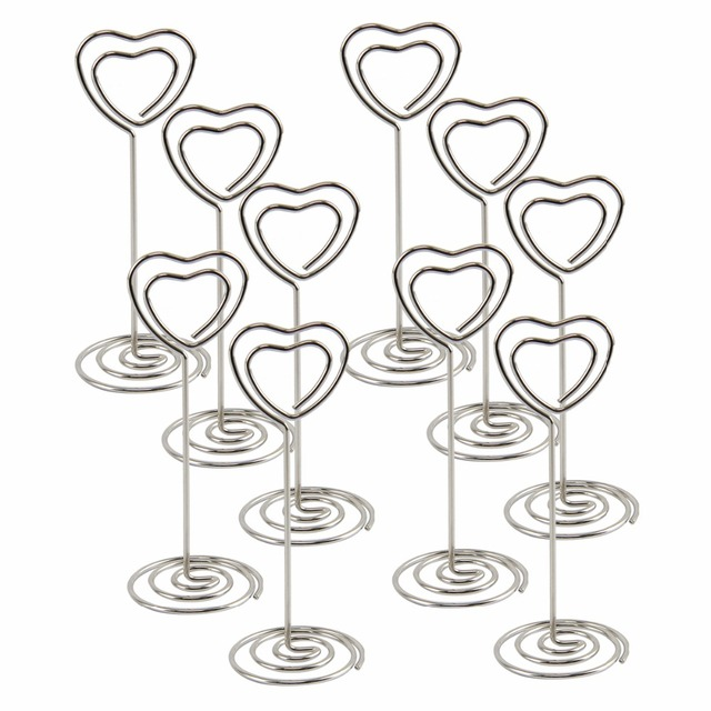 nosii 10pcs set heart shape place card holder photo memo clip table