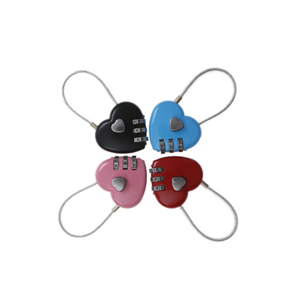 4 Colori Amore Password Di Blocco Filo Blocco Corda Combinazione Ripristinabile Lucchetto Cuore Per I Bagagli Borse Da Viaggio Tre Bit Serratura Digitale Valore Eccezionale