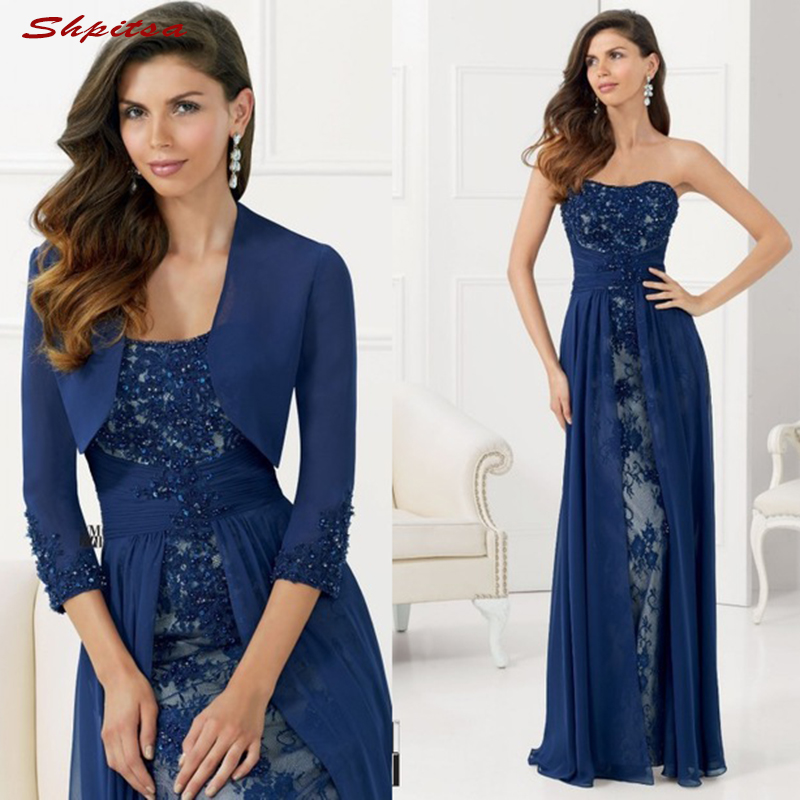 Navy Blue <font><b>Mother</b></font> of the Bride Dresses for Weddings Lace With Jacket Evening Prom Groom Godmother Dresses image