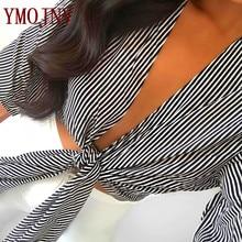 YMOJNV Sexy V Neck Shirts 2017 Summer New Fashion Black White Stripe Cotton Half Flare Sleeve Women Bow Straps Blouse Female