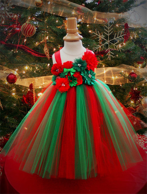 girls christmas dress christmas tree style childrens dress red and green combination suitable - Christmas Tree Dress