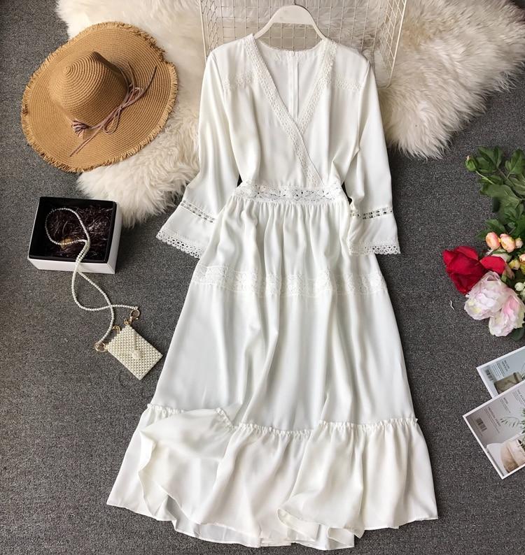 Women Bohemian Dress Lady Half Sleeve V Neck Red and White Beach Holiday Elegant Vestidos E152 2