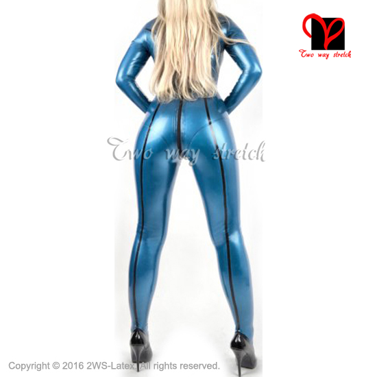 Black stripes Sexy latex catsuit with back zipper Socks rubber body suit high collar Jumpsuit overall zentai LT-112