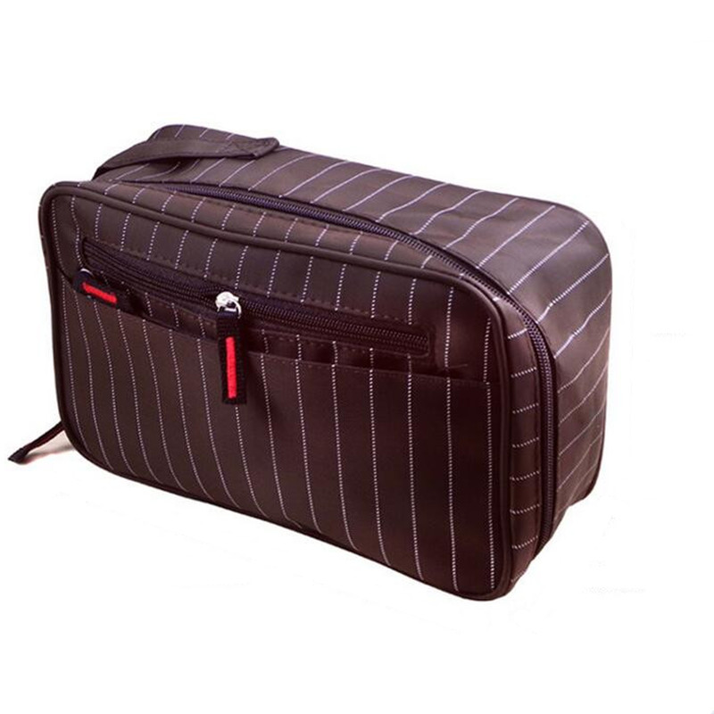 Men's Professional Stripe Cosmetic Bag Travel Organizer Makeup Cases Pouch Beauty Brushes Lipstick Toiletry Accessories Supplies