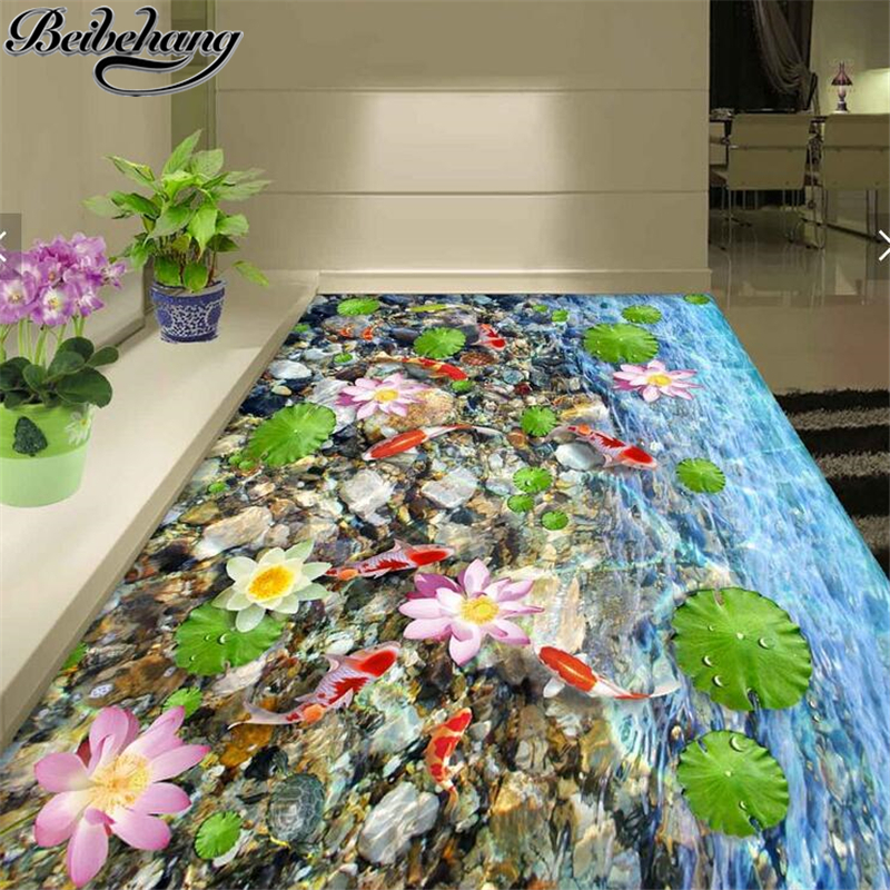 beibehang gran escala pictrica mural wallpaper d para dibujar estanque luna estanque piso d