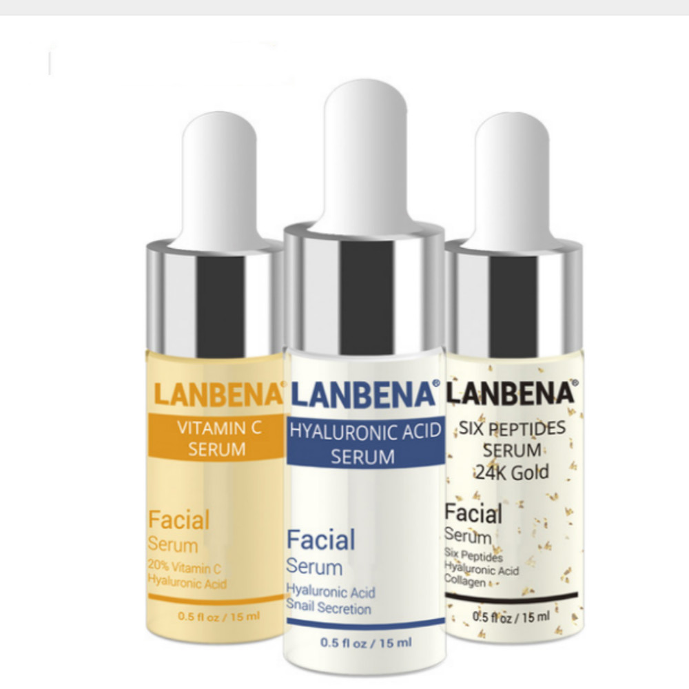 LANBENA Vitamin C +Six Peptides Serum 24K Gold+Hyaluronic Acid Serum Anti Aging Wrinkle Moisturizing Whitening Skin care ...