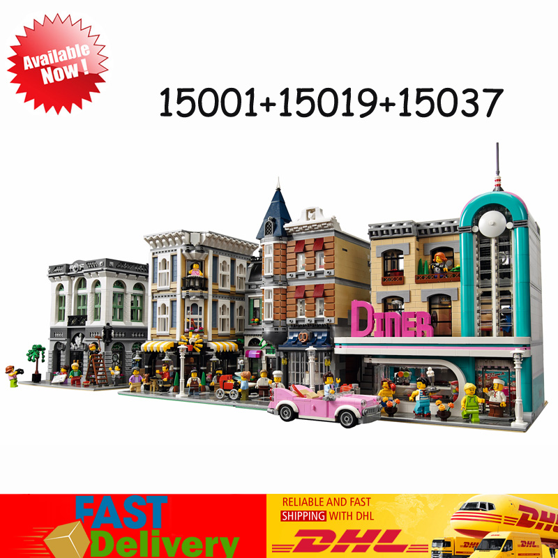 In Stock LEPIN 15001 Brick Bank +15019 Assembly Square +15037 Downtown Diner Bricks Blocks Toys Compatible 10251 10255 10260 in stock with light 15019b 4122pcs lepin 15019 4002pcs assembly square city serie model building kits brick toy compatible 10255