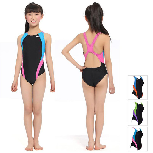 063c17b1f29d2 2016 Kids Girls Swimwear Professional Children One Piece Swimsuit Baby Bathing  Suits Racing Competition Tight Swimming Swim Wear
