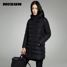 MISUN winter jacket women with a hood zippers medium-long thickening long-sleeve wave cut pockets outwear down coat & parkas