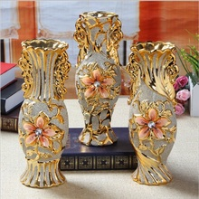 25*8.5*8.5cm Home Furnishing places vase ceramic ornaments crafts decorative gold plating European KTV