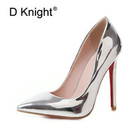 Elegant Women Pumps Wedding Shoes Sexy Shallow Mouth Stiletto Super High heeled Mirror Patent Leather High Heels Plus Size 33 48