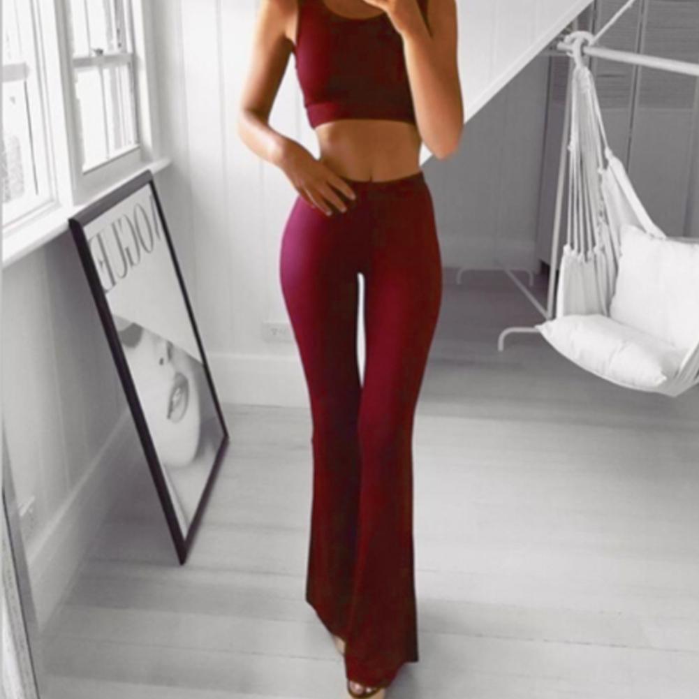 Sexy Women High Waist Long Pants OL Ladies Career Solid Palazzo Slim Flare Wide Leg Trousers Female Harem Pants 7