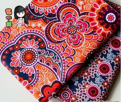 2 Pcs 50x50cm Mix Ethnic Style Cotton Fabric Tecidos
