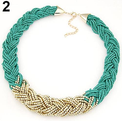 8806e7ee3260 Mujeres boho declaración beads choker collar babero collar trenzado joyería  de moda en Gargantilla Collares de Joyería y accesorios en AliExpress.com  ...