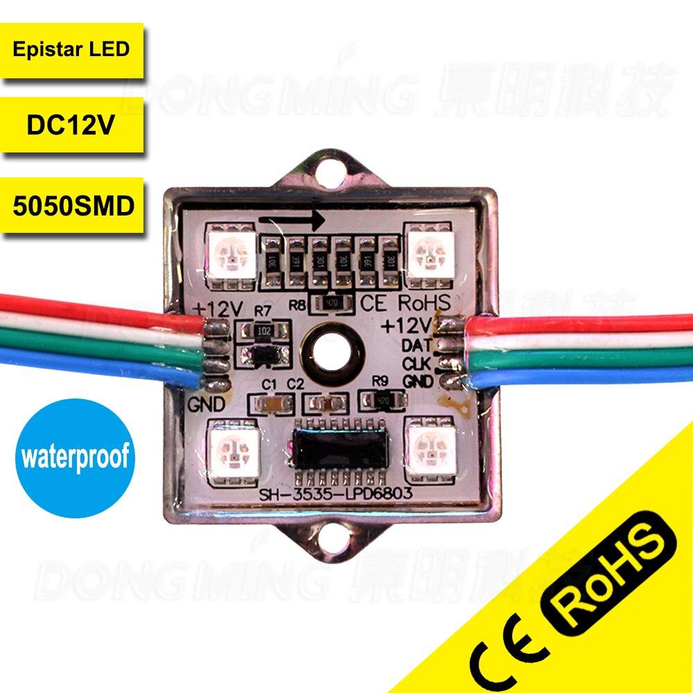 200 шт. высокий яркий Водонепроницаемый IP65 светодиодная вывеска письма 4 светодиода/шт Светодиодный модуль пиксела 1.44 Вт DC 12 В 5050 rgb led модуль