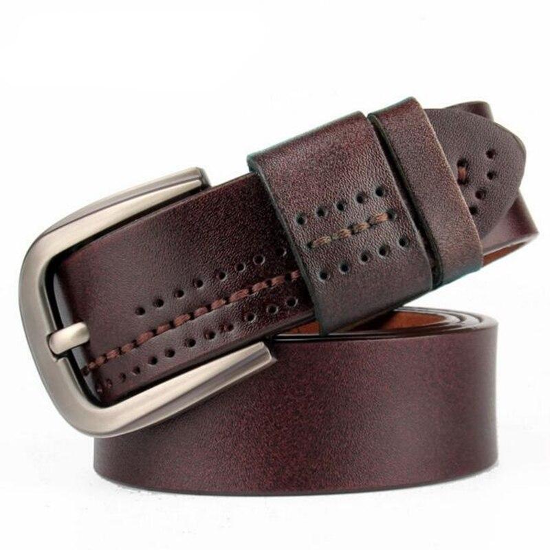 WEARZONE Designer Men Belts Genuine Leather Strap Male Pin Buckle Mens Wide Casual Belt for Jeans Ceinture Homme