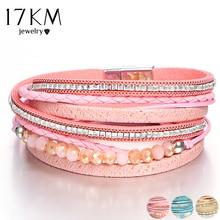 17 KM Baru Desain Manik-manik Kristal Beberapa Lapisan Fashion Gelang Untuk Wanita Pulsera Mujer Kulit Charm Gelang & Bangle Hadiah