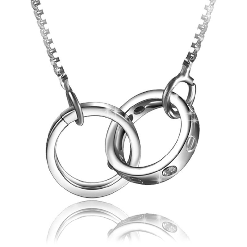 Silver necklace men women double circle pendant necklaces in pendant silver necklace men women double circle pendant necklaces in pendant necklaces from jewelry accessories on aliexpress alibaba group aloadofball Images