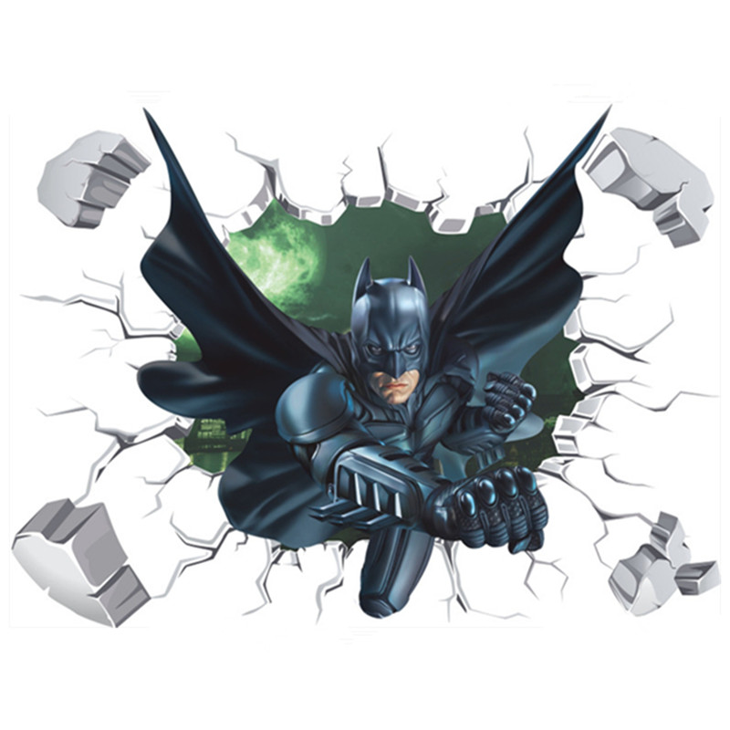 Us 4 21 33 Off Super Hero Batman Gebrochen Wand 3d Kunst Kreative Aufkleber Die Avengers Anime Poster Kinderzimmer Dekoration Cartoon Tapete 70 50