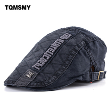 TQMSMY Retro caps Men Berets Cotton Hats Embroidery letters