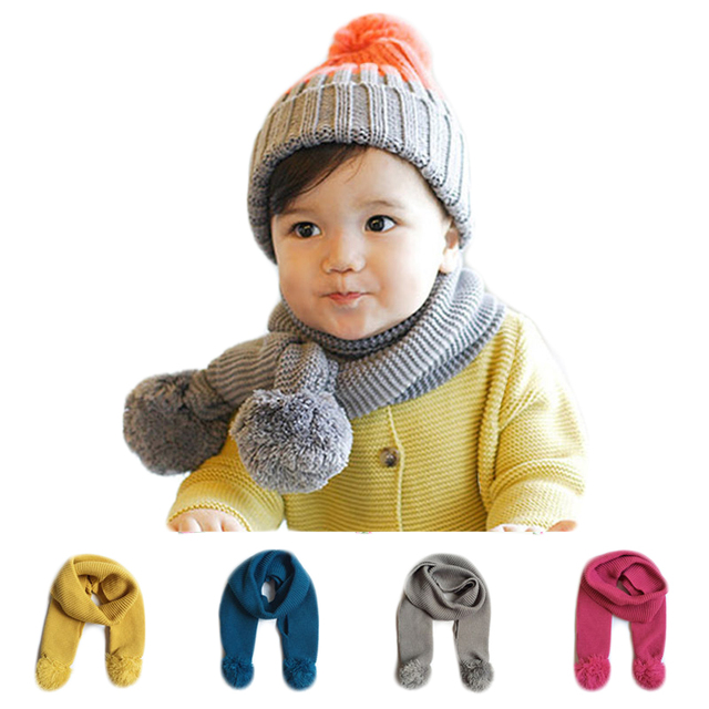 5ba6eaab0 New Fashion Double Ball Scarf Children Autumn Winter Baby Neck Warm Scarves  Boy Girl Knit Scarf Collar For 0-8 Years Old Kids