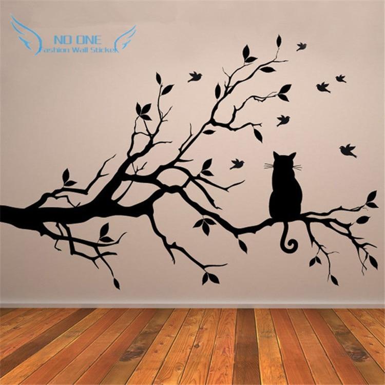 Kočka na větev stromu Ptáci vinylové nálepky na zeď Umělecké dekorativní nálepky na zeď nálepky pro dětské pokoje Skleněné okno nálepka