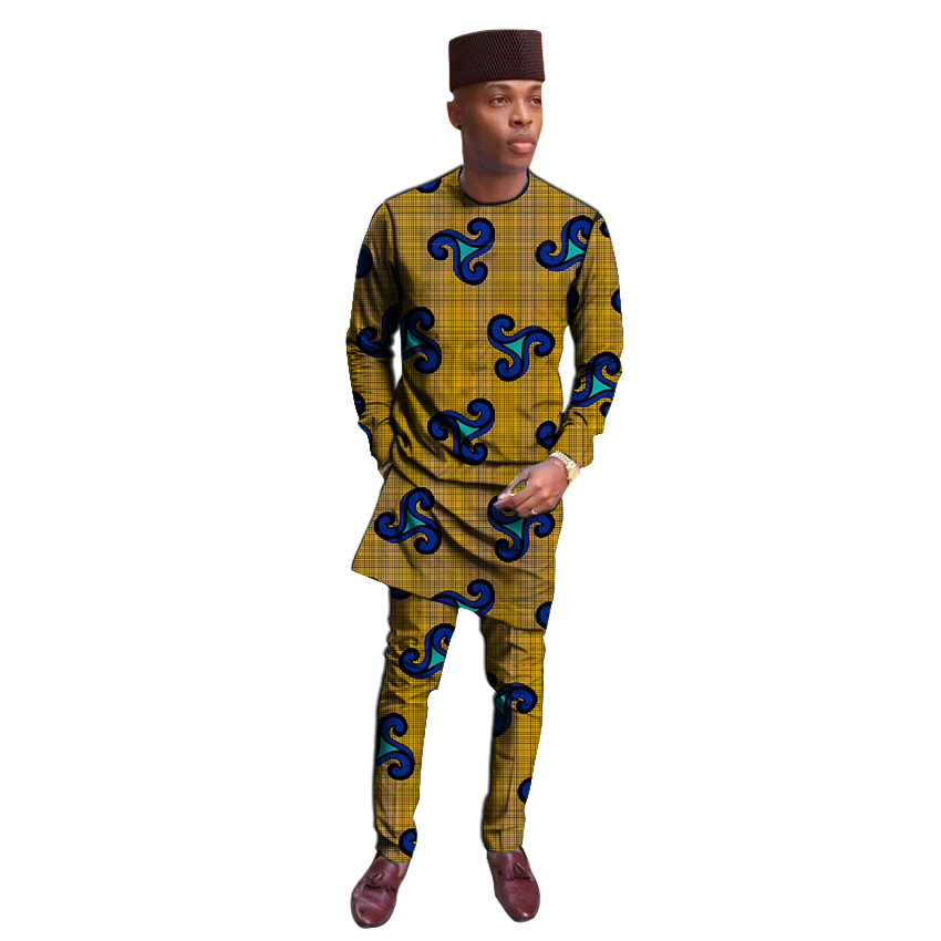 Private Custom Festival Africa Clothing Men Print Shirt+trouser African Clothes For Man Long Shirt And Pant Set Dashiki Suit