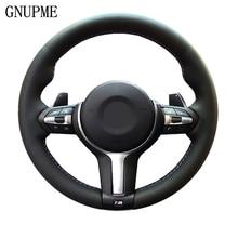 GNUPME Artificial Leather Black  DIY Car Steering Wheel Cover for BMW M3 M4 2014 - 2016 F31 428i 2015 F30 320d 328i 330i