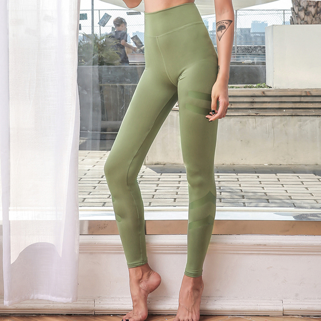 7a7346a09 Reflective striped sports tights woman fitness leggings high waist yoga  pants army green legging sport women fitness workout