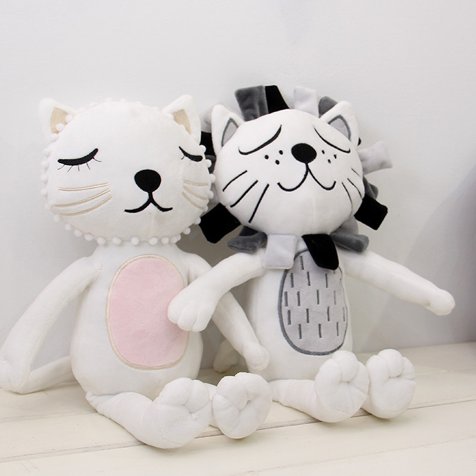 Baby Cat Lion Soothe Pillows 30cm Crib Comforter Toy Cute Carriage Soft Cotton Kids Room Decor Children Christmas Gifts 1pcs