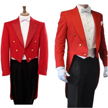 High-quality long-tailed dress suit 2018 autumn red tuxedo jacket black pants suit fashion show custom jacket and pants