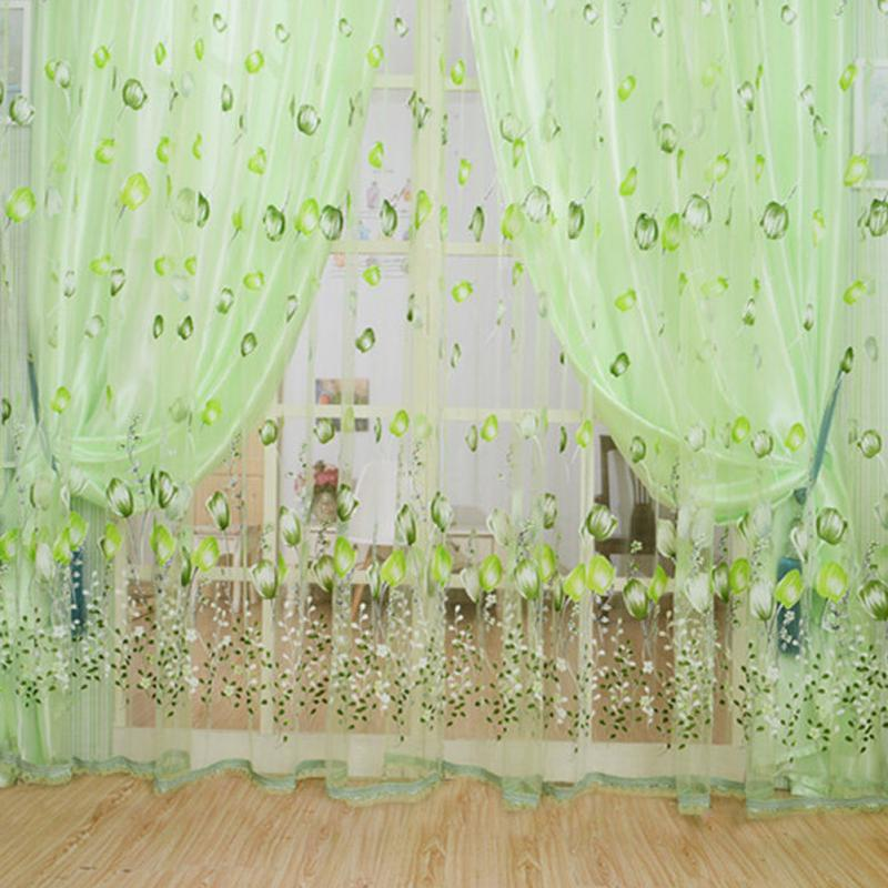 New Bedroom Window Sheer Curtain Panels Floral Curtain Transparent Drape  1*2.8m Floral Blue Curtain Tulle Fabrics Sheer Curtains In Window Screens  From Home ...