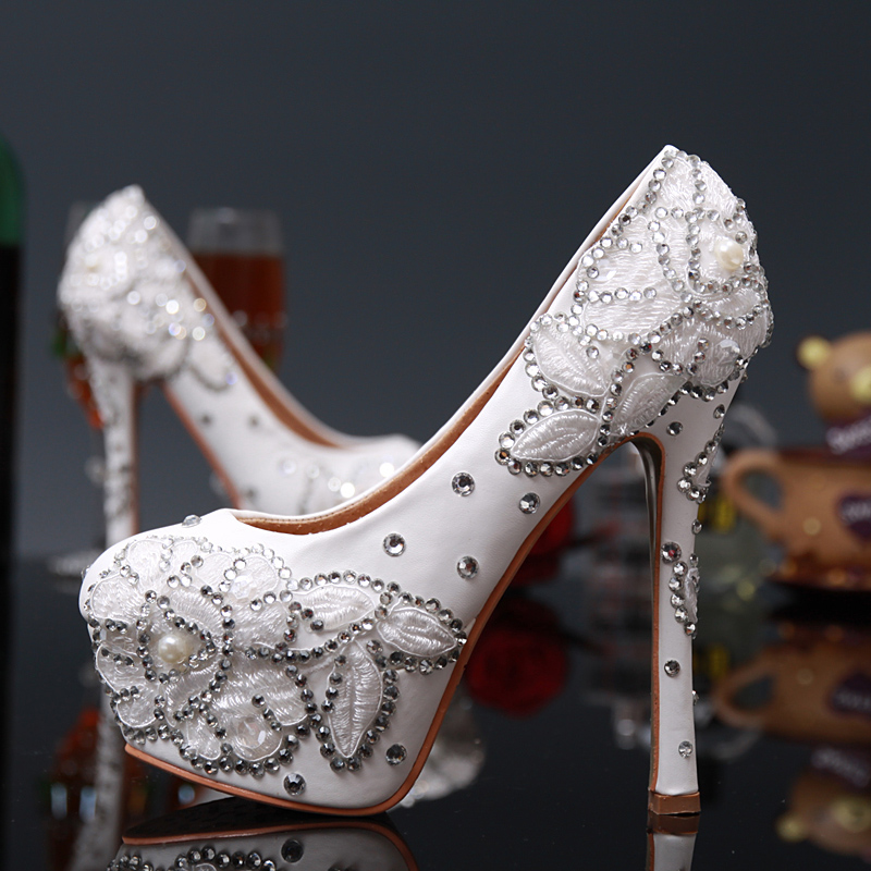 Womens Wedding White Lace Shoes Embroider Pearl Bride Round Toe Pumps Sexy Thin High Heel Rhinestone Party Shoes Big Size 43 crystal wedding peep toe shoes silver bride women diamond ultra sexy thin high heel rhinestone party pumps shoes big size 43