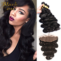 13x4 Ear to Ear Full Lace Frontal Closure with Bundles 7A Indian Virgin Hair with Closure Body Wave Human Hair Frontal Closure