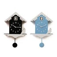 2pcs Creative Cartoon Wooden Cuckoo Swing Clock Wall Clock Living Room Modern Minimalist Bedroom Living Room Home Hanging Watch