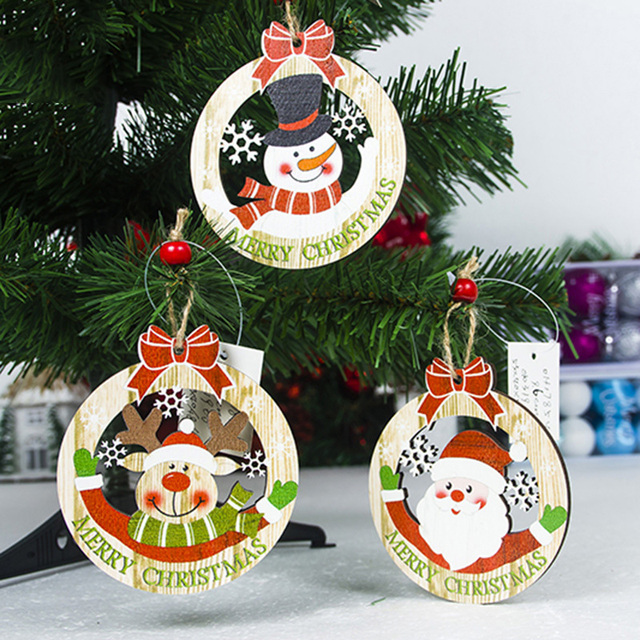3pcs Wooden Christmas Tree Pendants Wood Craft Hanging Ornaments For