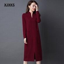 9a1109626b9ea XJXKS formal de moda las mujeres suéter vestido 100% de punto de lana de  alta calidad collar 2019 nueva llegada mujeres vintage .