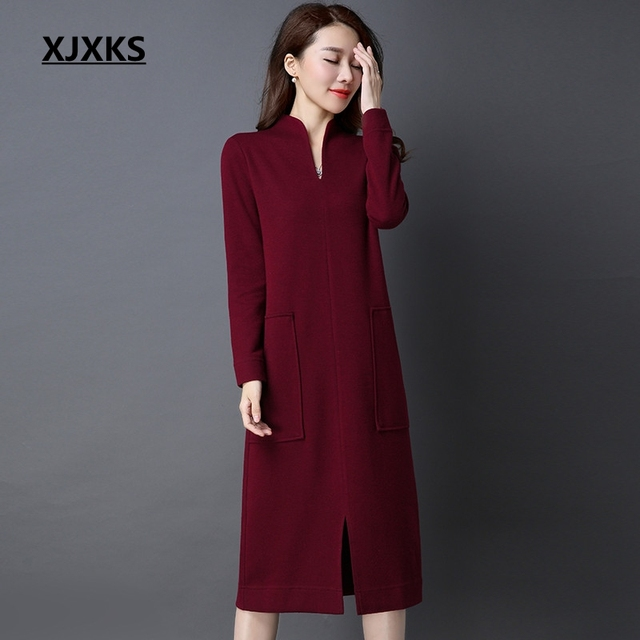 XJXKS fashion formal women sweater dress 100% wool knitted high quality  stand collar 2019 new arrival women vintage vestidos 4972fd53a7