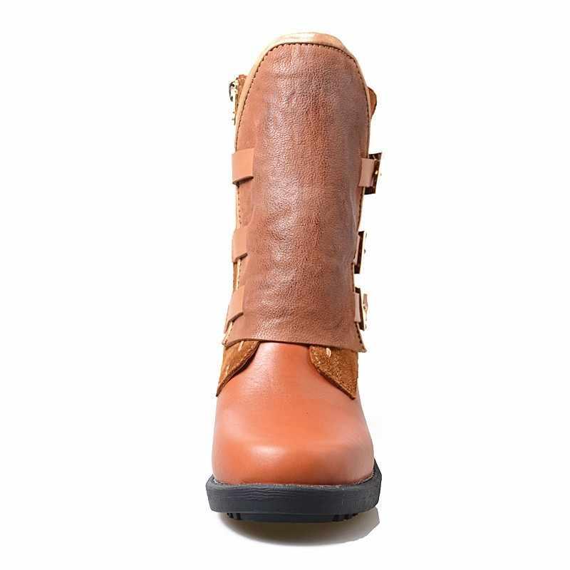 Botines Mujer/2019; женские кожаные ботинки на платформе и высоком каблуке; зимний пояс; мотоциклетные ботинки с пряжкой; Модная брендовая женская обувь