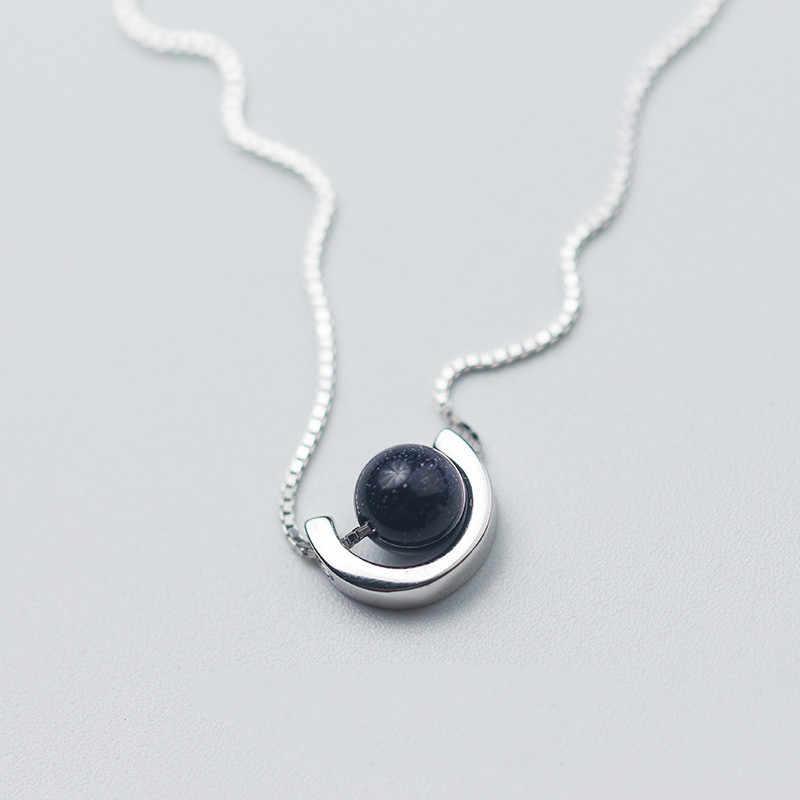 De plata Vintage estilo redondos de geometría bola Necklcae 925 arena azul planeta forma colgantes collares joyería para chicas