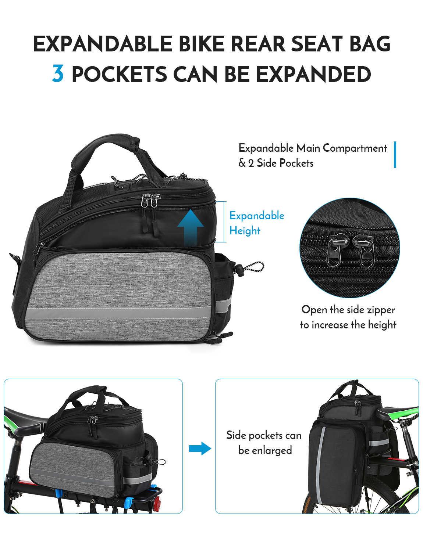 Lixada 25L vélo siège arrière sac multifonction extensible étanche vtt vélo sacoche sac vélo support sac avec housse de pluie