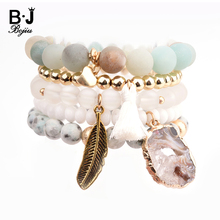 BOJIU Trendy Women Bracelet Set Natural Ag. Stone Druzy Exquisite Leaf Pendant Sets Party Festival Gifts BCSET20