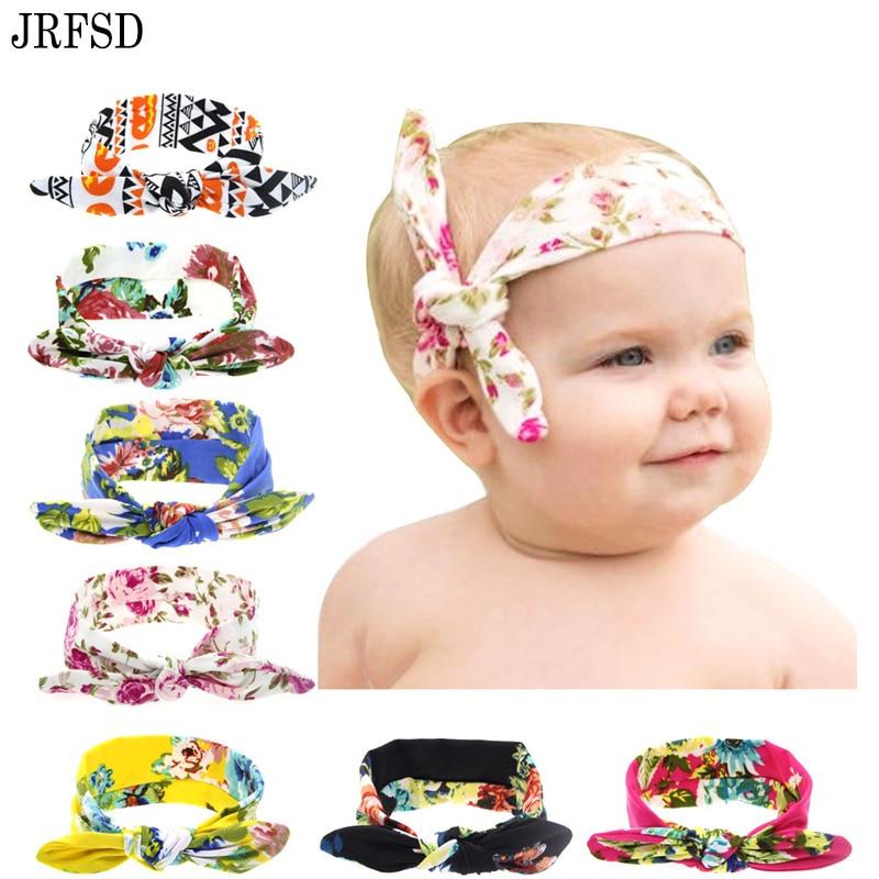 JRFSD 8 색 인쇄 최고 매듭 머리띠 신생아 탄성 활 - 의류 액세서리