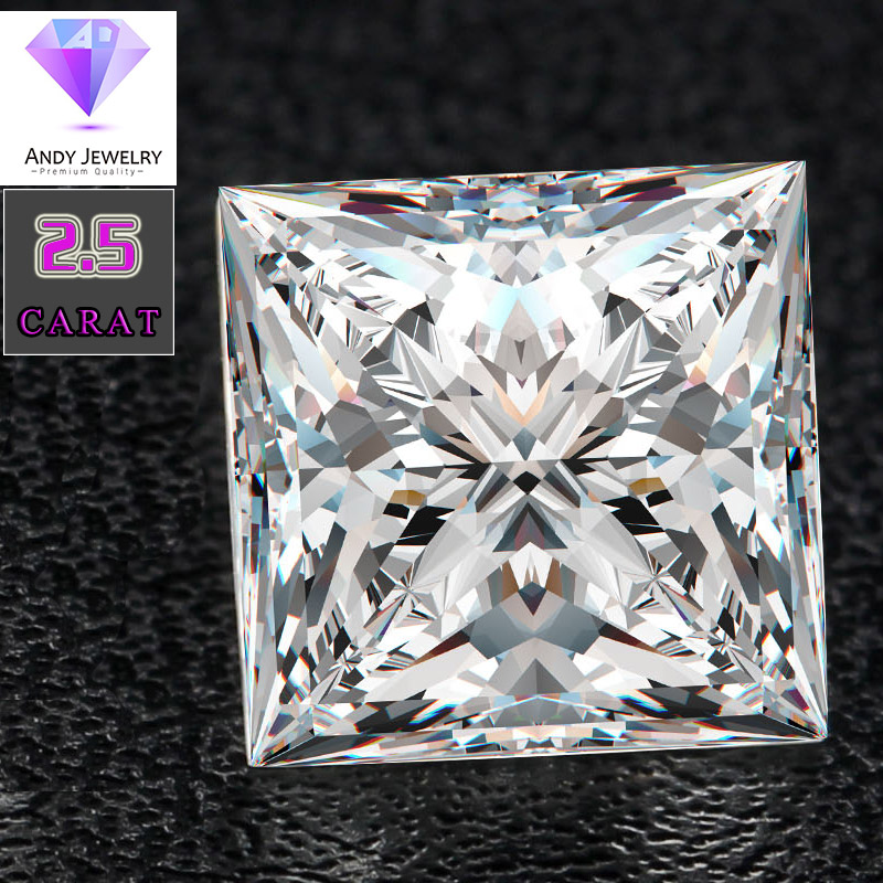Square brilliant moissanite stone Size 7 5 7 5mm 2 2 carat diamond Excellent white DEF