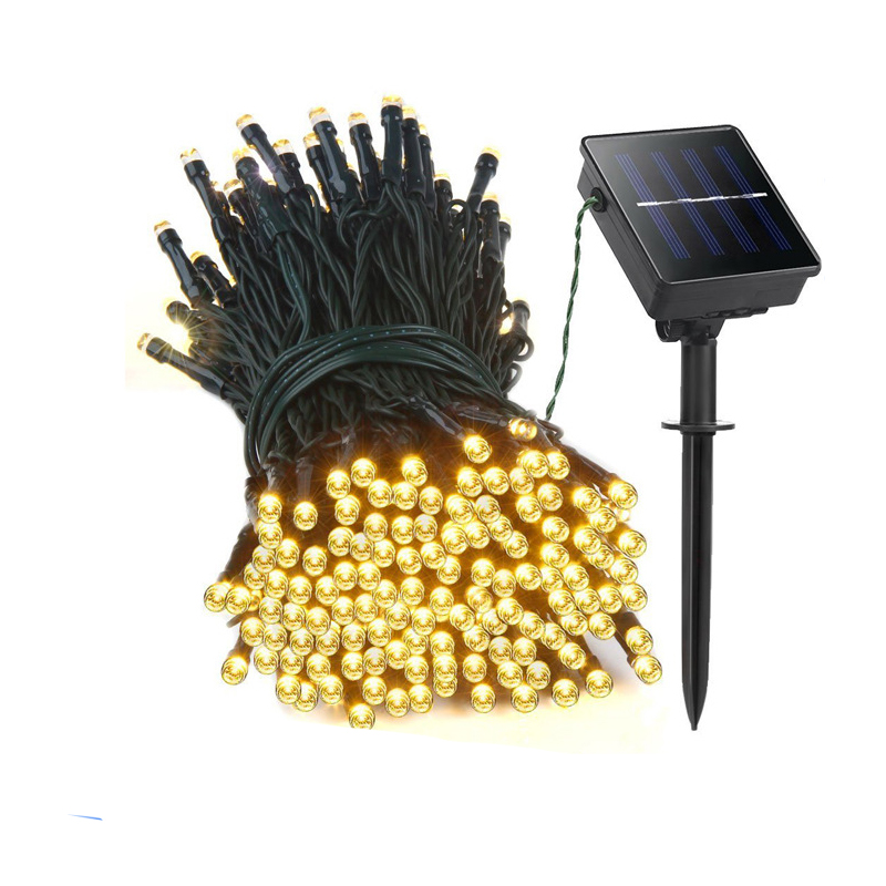 22M 200 LED-es napenergia LED-es lámpás lámpák Garland karácsonyi napelemes lámpák esküvői kerti parti díszítéshez Kültéri