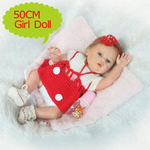 "NPK Full Silicone 20""/50CM Reborn Baby Doll Realistic Newborn Bebe Girl Wearing Red Sweater Dress Kids Play Toys Girl XMAS Gift(China)"