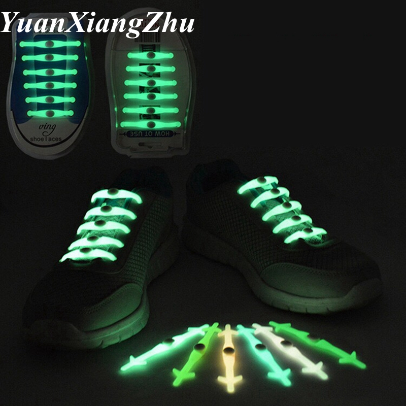 12 Pcs/Set Luminous Shoelaces No Tie Silicone Shoelace Light Up Shoes Lace Flash Party Glowing Shoe Lace Shoestrings Lazy